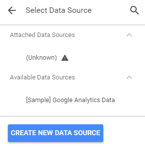 screen grab of how to create a new data source