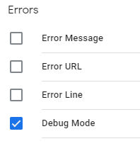 image of list of errors with debug mode selected