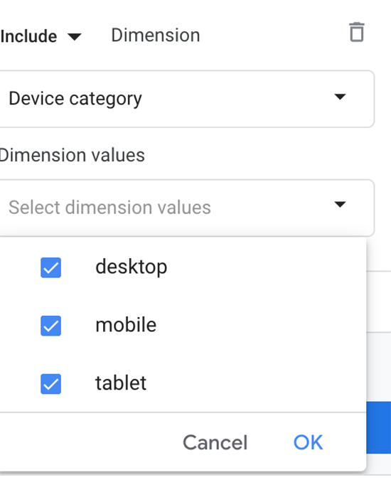 screen grab of Device Category Comparison options