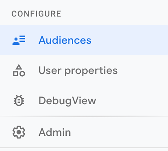 screen grab showing where to go to configure audiences