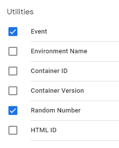 image of list of utilities with boxes checked next to event and random number