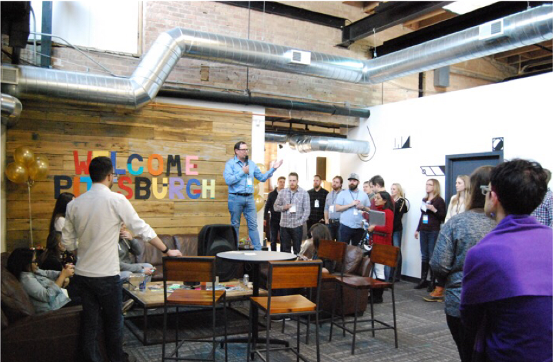 Bounteous CEO, Phil Hollyer giving speech at The STudio office