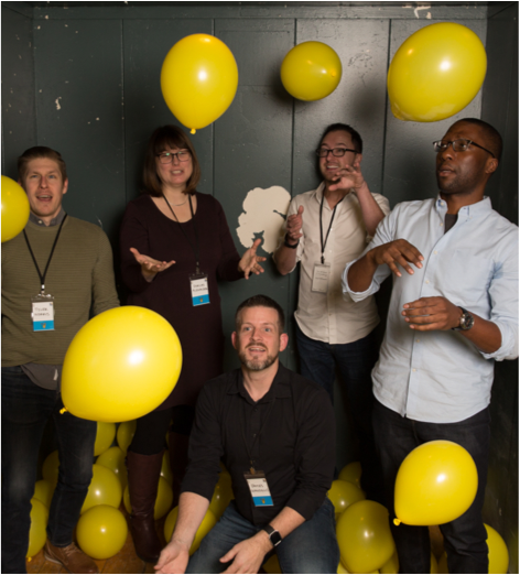 Bounteous employees with balloons