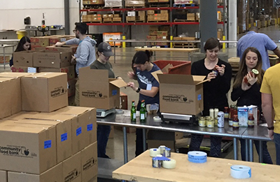 Bounteous employees working at food drive