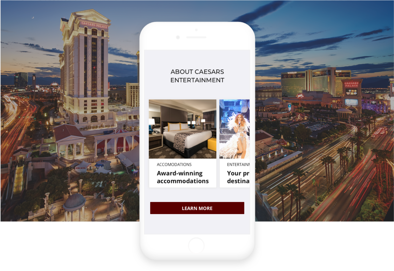 caesars site on iphone mock-up with backdrop of the vegas strip and caesars palace