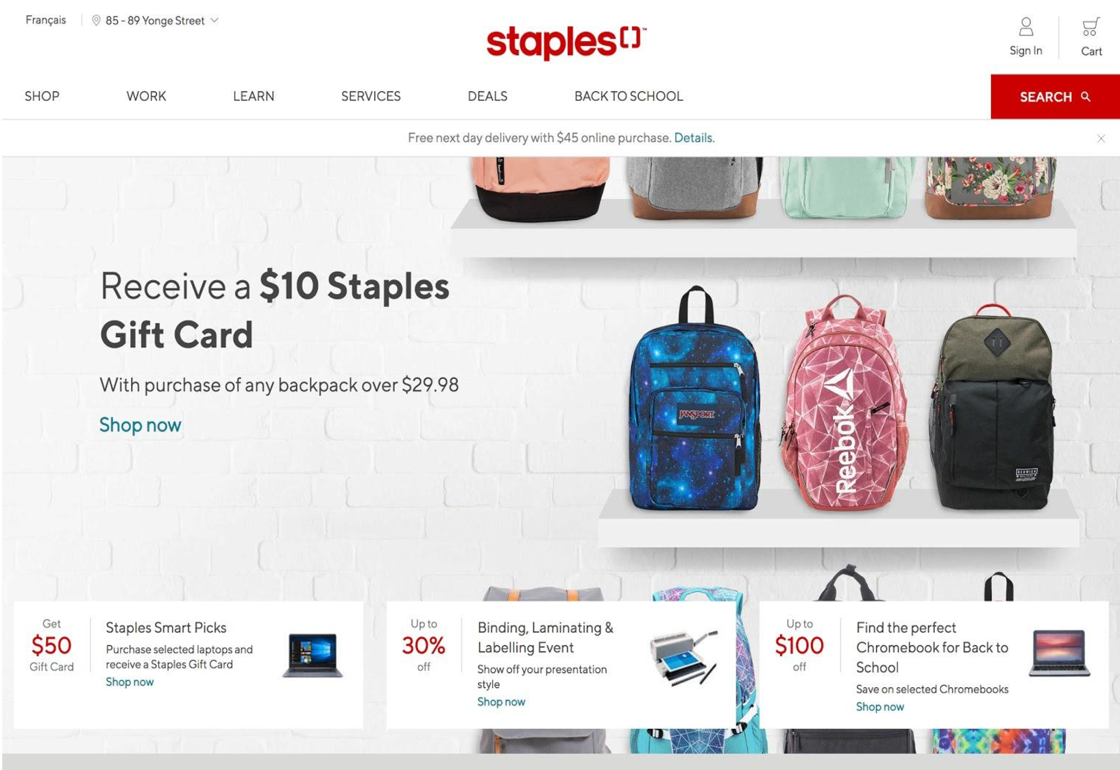 Staples Canada website home page