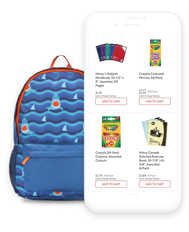 staples canada mobile app shown next to a child's book bag