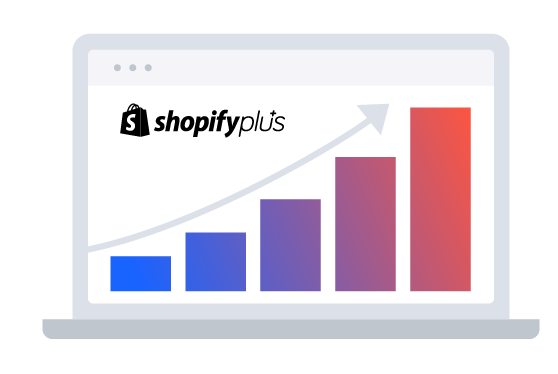 illustration with laptop screen with the shopify plus logo and arrow showing growth