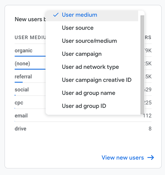 screen grab of where to create a new users report