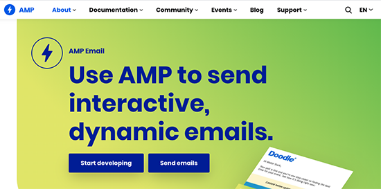 screenshot: AMP homepage