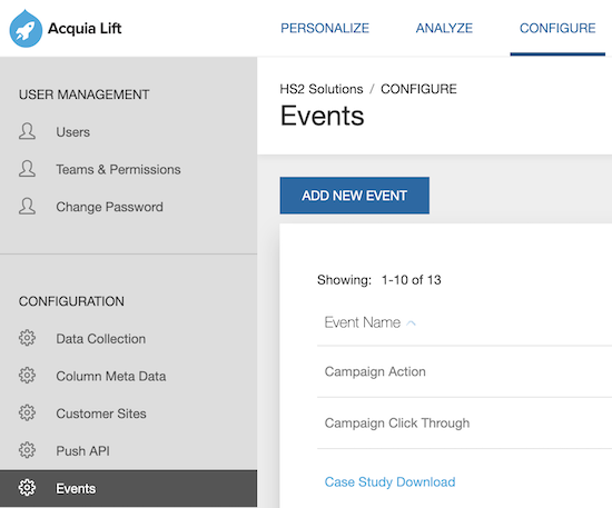 image showing where to add a new event in Acquia Lif