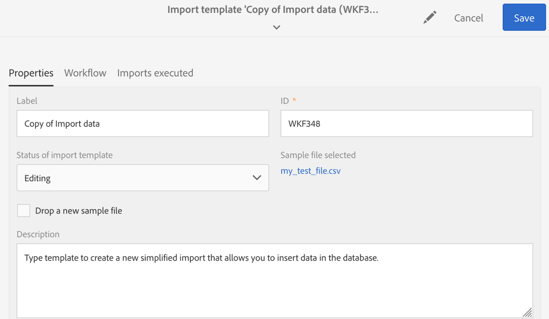 Screenshot of the Import template window