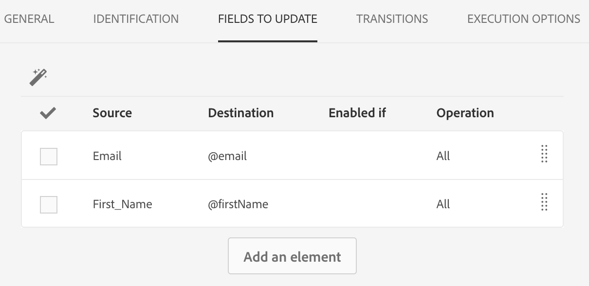 Screenshot of adding fields in the Fields to Update tab of the Update data activity