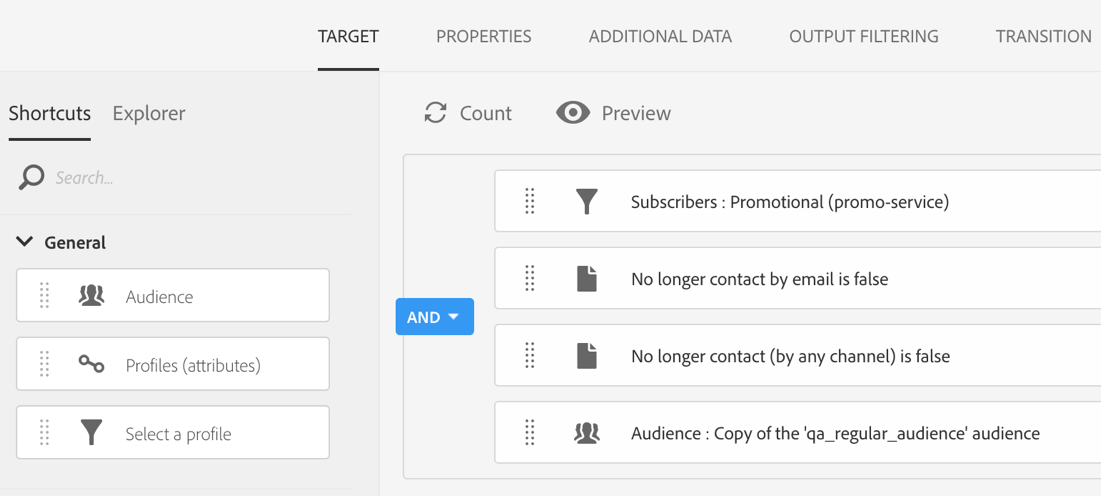 Screenshot of defining the Target in the Query Profiles activity.