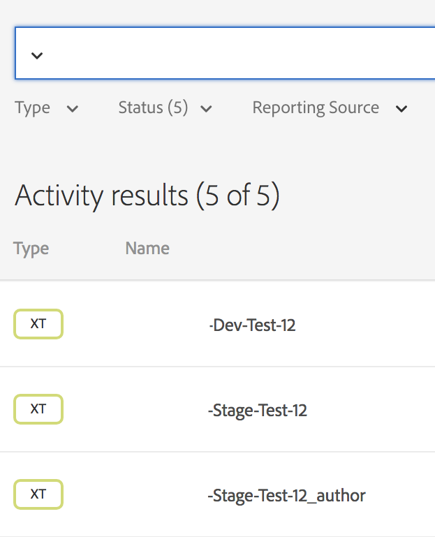 screen grab of activity results
