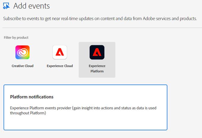 Aggiungi eventi con tre prodotti Adobe visualizzati per la selezione