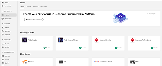 screen grab of dashboard with Adobe Experience Platform Connectors