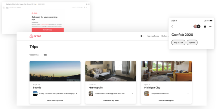 different component of the Airbnb interface for their trips feature