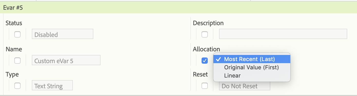 screen grab of allocation settings