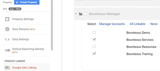 screen grab showing available ad accounts for selection where you can check the appropriate account box to import into Google Analytics App + Web