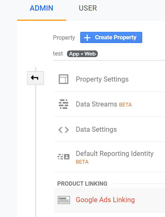screen grab showing Admin Options in Analytics App + Web where you can click into Google Ads Linking under Property Settings
