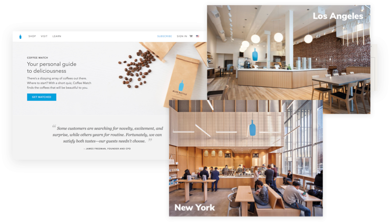 Blue Bottle Coffee in store and digital experience examples