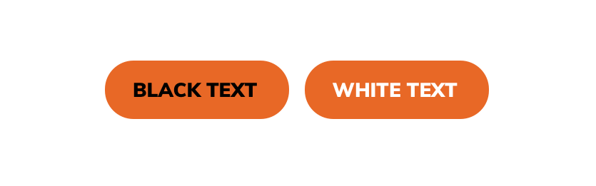button accessibility examples showing two orange buttons one with black text and one with white text