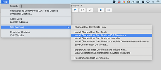 Charles Root Certificate Simulator screen grab
