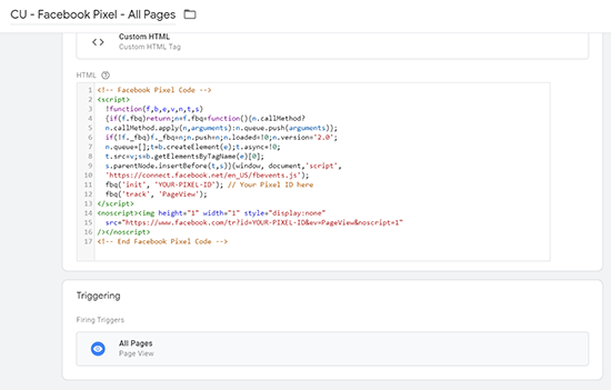 image of finished default facebook pixel tag with all pages trigger