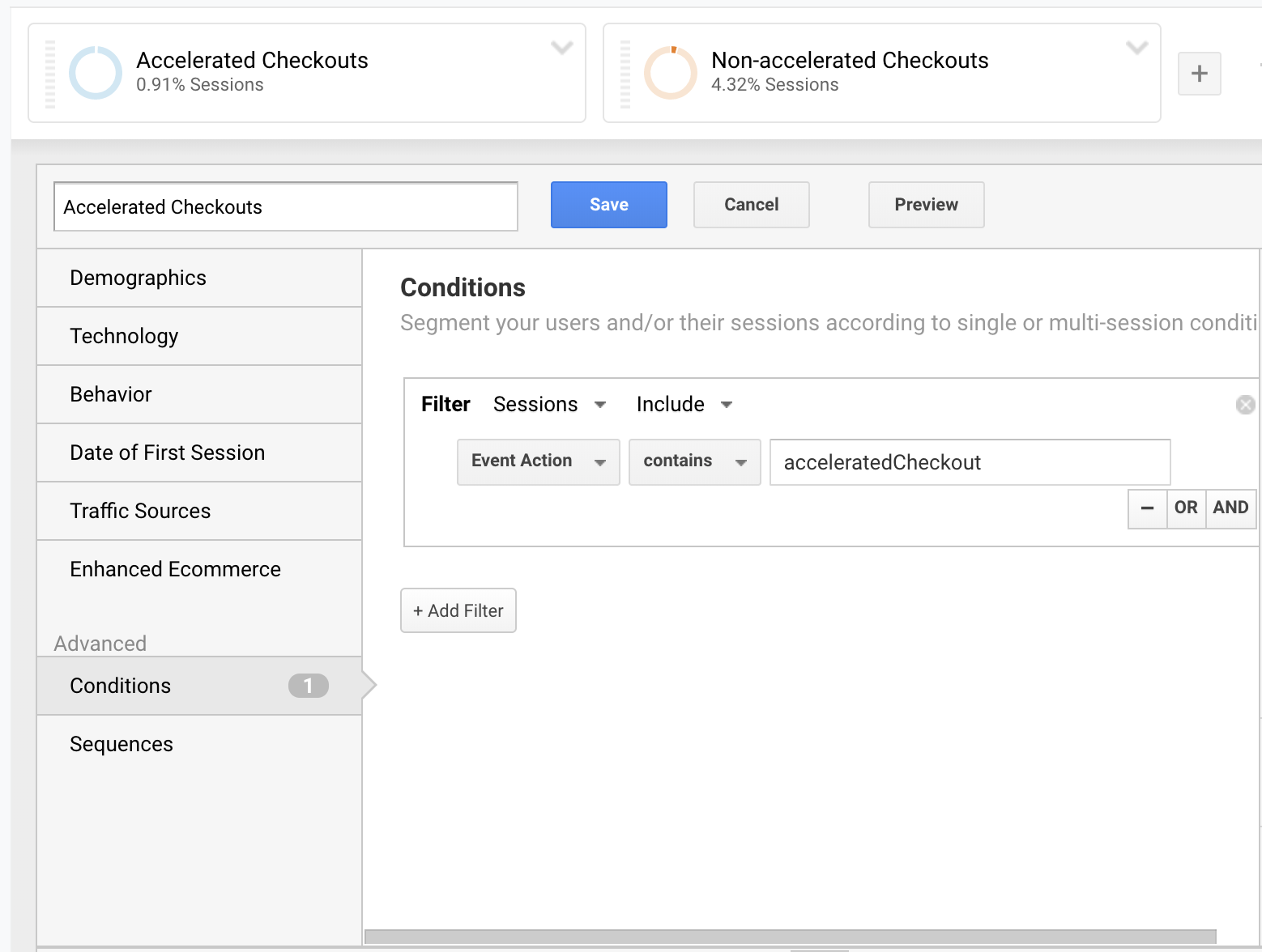 screenshot example of how to create two segments in google analytics