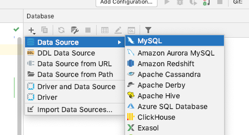 click the + sign to add a new data source, select MySQL (or MariaDB)