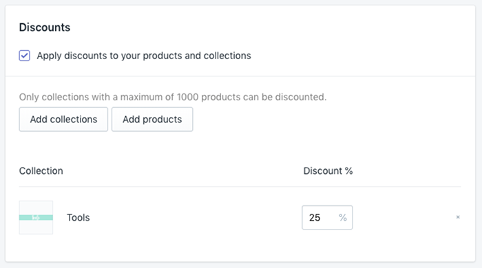 Applying discounts in Launchpad