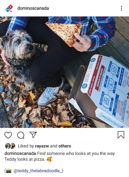 screen grab of an instagram post from Domino's Pizza Canada showing an example of user generated content