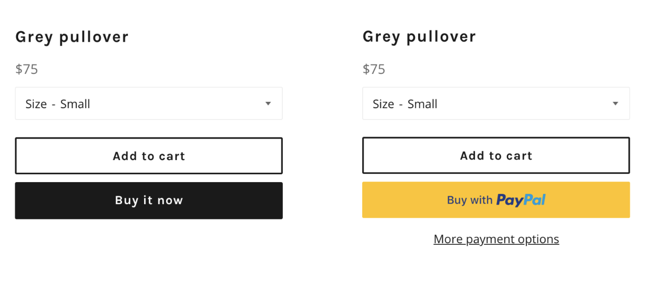 the two types of dyanmic checkout buttons, branded and unbranded