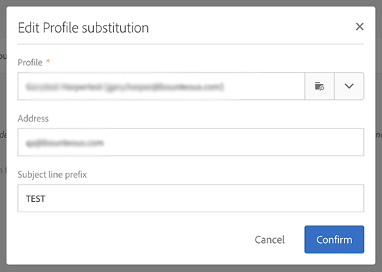 The Edit Profile Substitution window