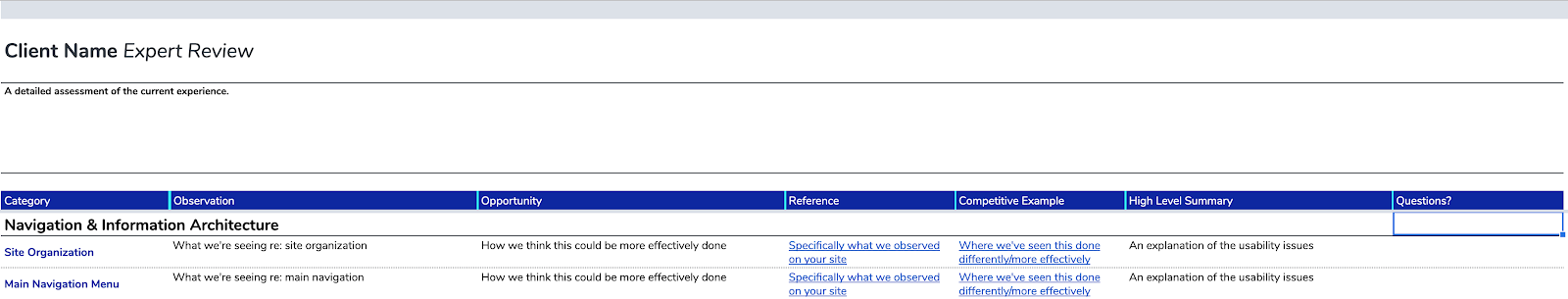 screenshot example of an expert review