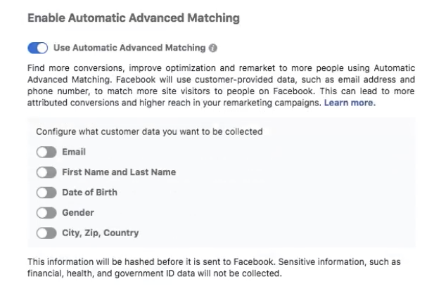 screen shot of facebook automatic advanced matching