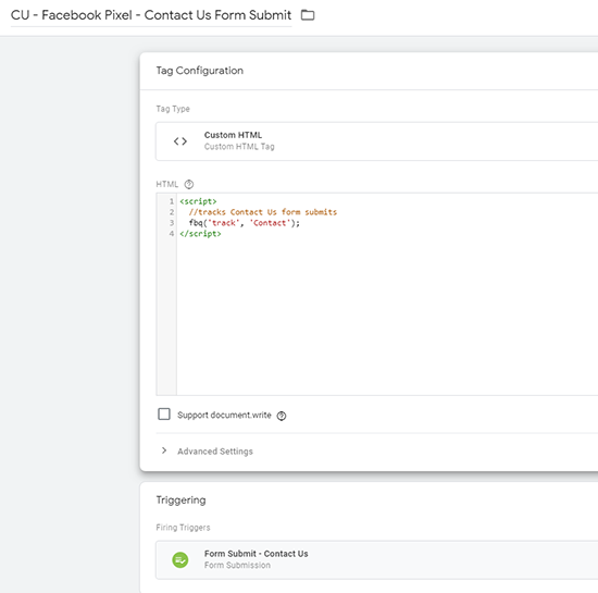 image of Facebook pixel with custom html for a standard event