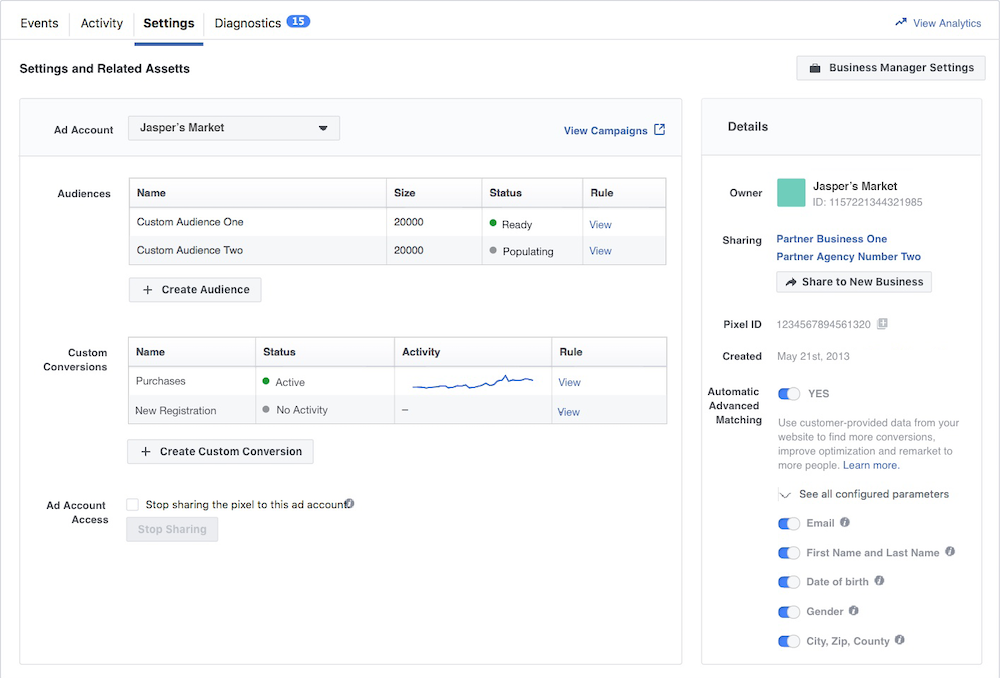 screen shot of facebook event manager settings