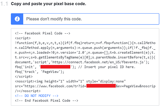 Facebook Pixel base code in the configuration popup