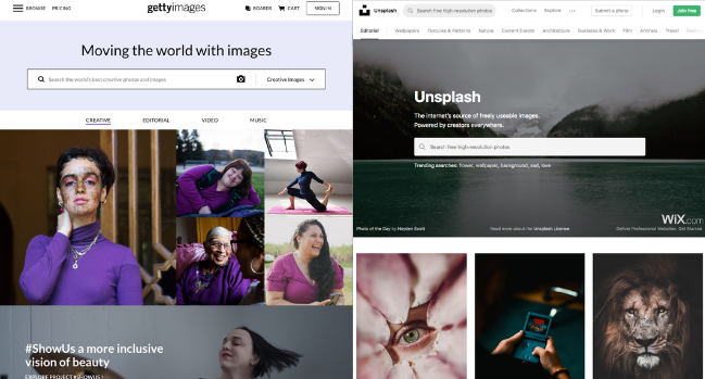 screen shot of free stock photo resources getty images and unsplash