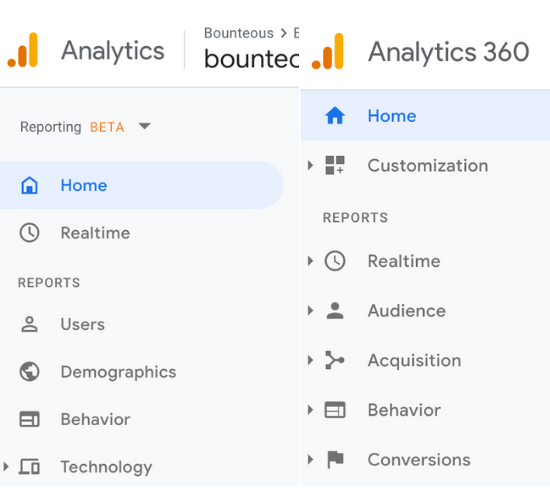 screen shot comparing the google analytics 360 navigation view to App + Web's navigation view