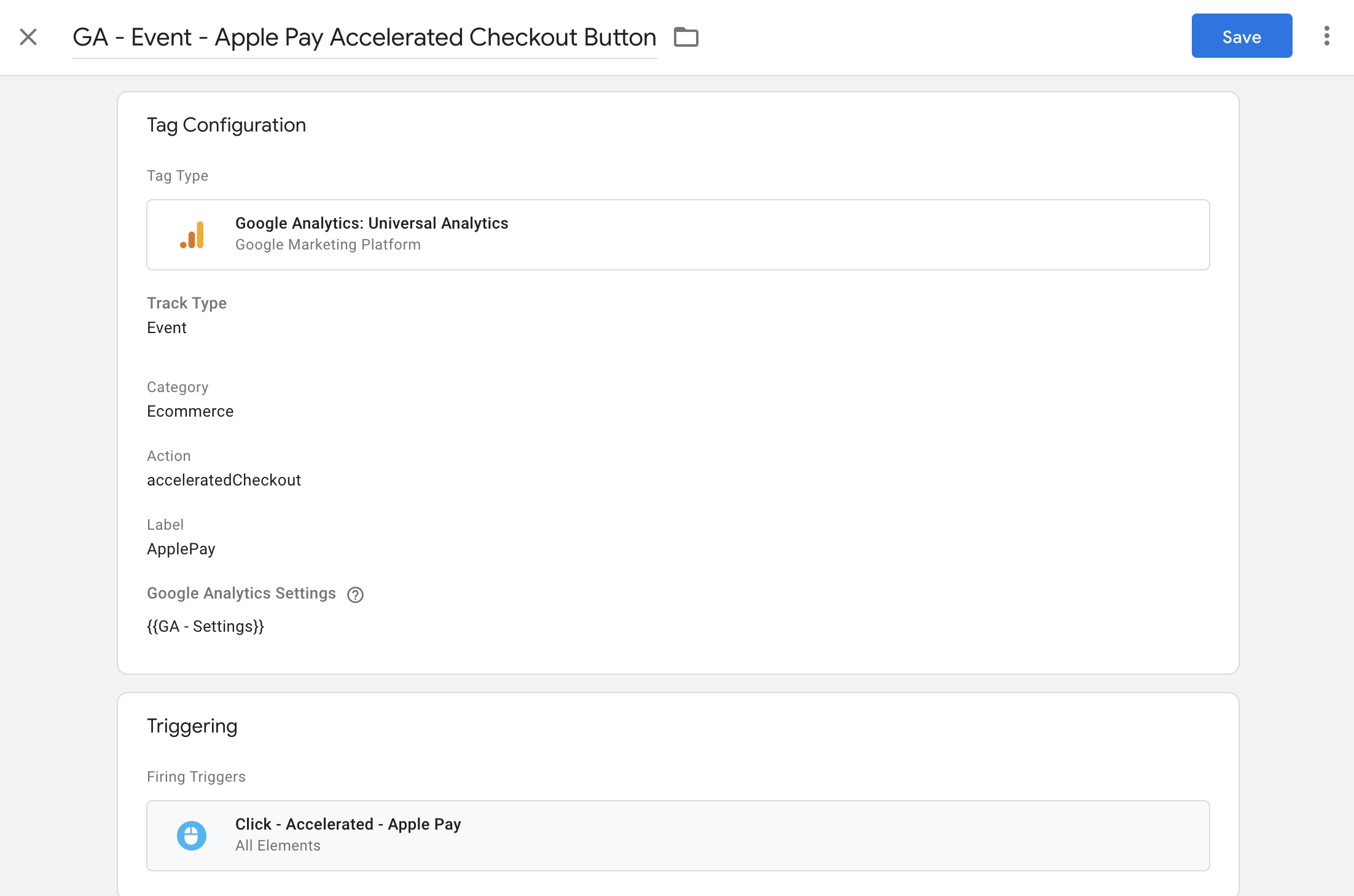 example of how to set up event tracking tags for accelerated checkout