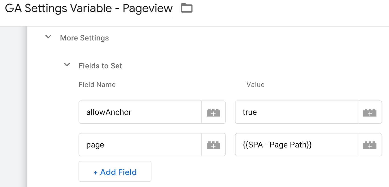 screen grab of Google Analytics Variable Pageview