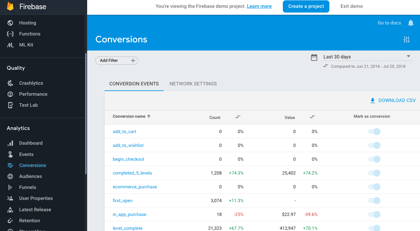 Google Analytics for Firebase screen shot