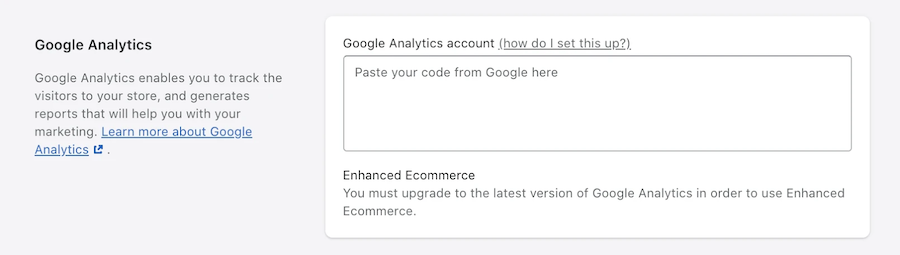 Google Analytics section in the Shopify Admin dashboard