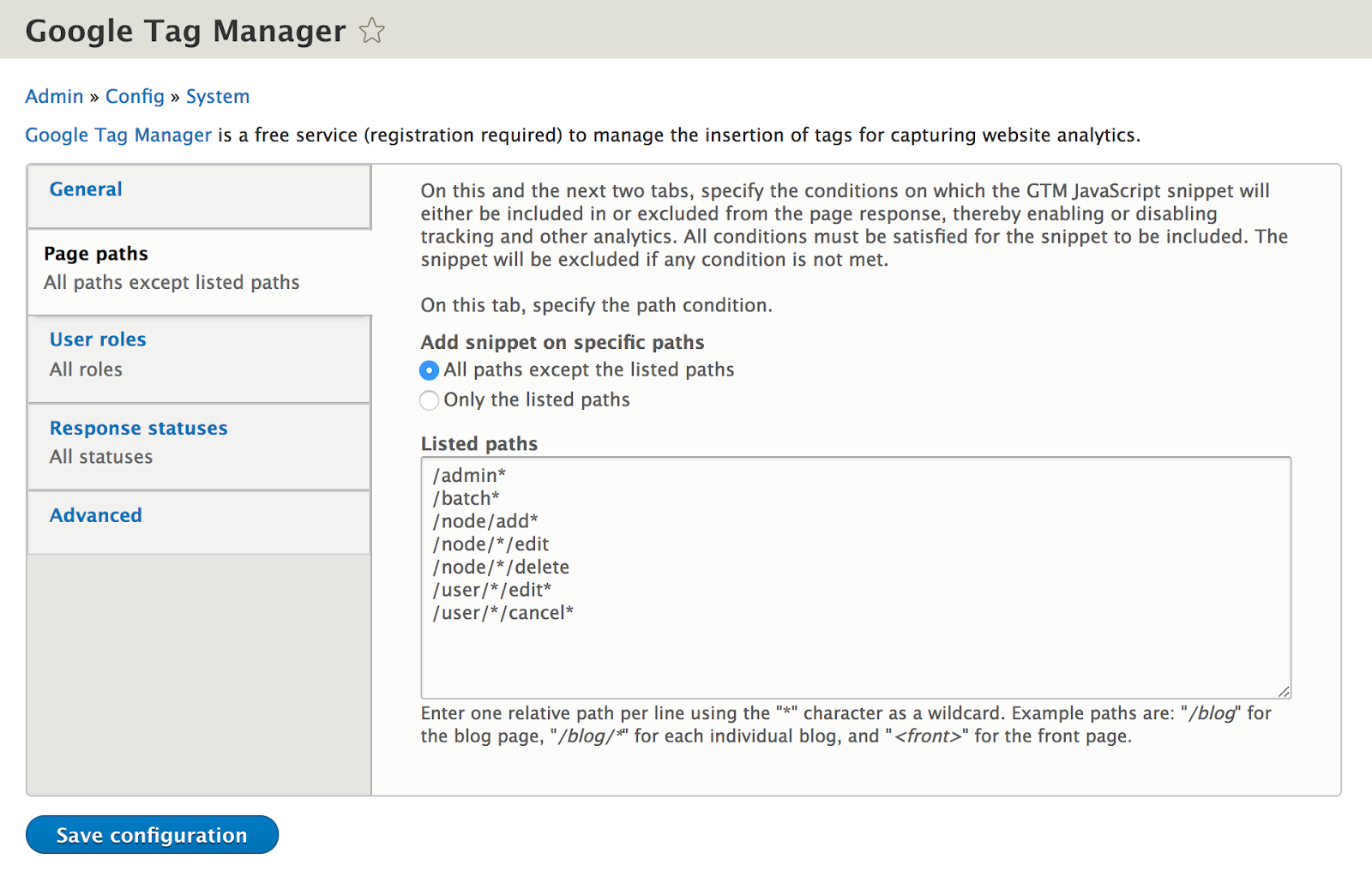 Google Tag Manager Module screenshot