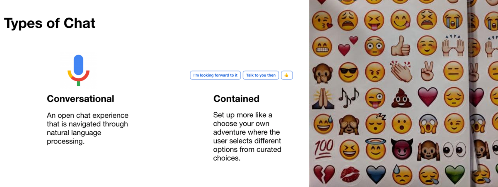 screen grab of types of chat and picture of emoji stickers