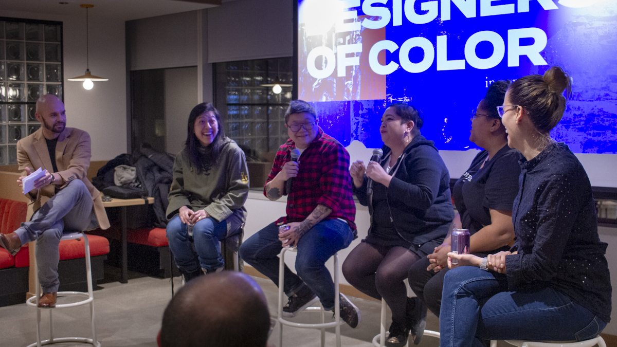 photo of moderator and featured designers during Designers of Color in Conversation event
