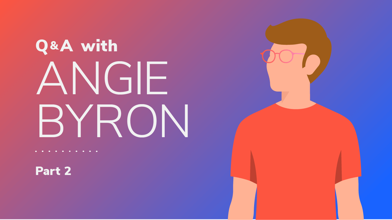 """Q&A with Angie Byron"" text and cartoon image of Byron"